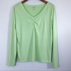 Talbots T Shirt Ruched Raw Hem V Neck Neon Green M